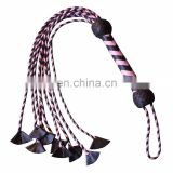 HMB-513D LEATHER FLOGGER 9 O CAT BRAIDS TAILS PINK BLACK BULLWHIPS