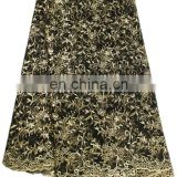 Black and lemon green african lace fabrics for garment