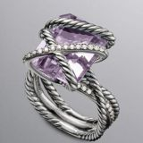 Designs Inspired 925 Silver Lavender Amethyst 16x12mm Cable Wrap Ring