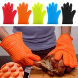 Heat resistant waterproof oven bbq thickening silicon rubber glove whatsapp: +8615992856971