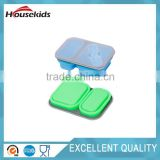 2 Sections Square Silicone Lunch Box Container School Picnic with spork
