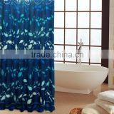 Waterproof mildew resistant polyester small fishes printed shower curtain, high quality bath curtain