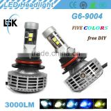 g6 led headlight Strong powerful light 3000lm 12v-24v auto led headlight 38w with five colors DIY freely