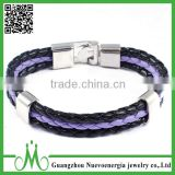 Men Women's Alloy Genuine Leather Bracelet Braided Bangle Cuff Rope Black Purple