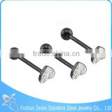 316L Black Steel White Crystal Heart Tongue Plug Body Jewelry