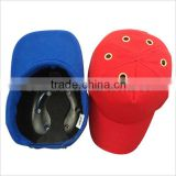safety baseball caps with plastic helmet inside
