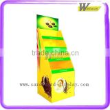 Newly Supermarket coffee bean promotion pallect display floor 4 shelves cardboard display stand