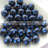 AAA quality 2014 New 12mm to 24mm Halloween Bead Black with Roayl Blue Resin Polka Dot Beads for Kids Chunky Necklace Jewerly