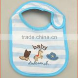Embroidery Animal and Cartoon Patterned Cotton Waterproof Baby Bibs