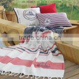 Organic Cotton Peshtemal Turkish Bath Hamam Spa Yacht Fitness Gym Beach Towel - Hammam Peshtamal Pestemal Throw Blanket
