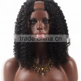 Alibaba Express 2016 Newest Fashionable full lace wig with U Part made from real human hair in kinky curl hair style