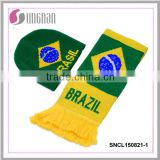 2015YIWU alibaba hot sell 100%acrylic knitted football scarf fan scarf soccer scarf and hats