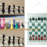 plastic chess piece and colored chess set