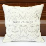 Abstract baroque pattern embroidered linen decorative pillow cover