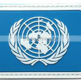 The United Nations Peacekeeping Forces 3D PVC Armband UN TACTICAL Rubber Tactics Gear Waterproof Patch D8 cm BLUE