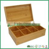 Bamboo Kitchen Tea Caddy/Kitchen Tea Bag Storage Box/8 Grids Gift Box/Jewelry Box/Home Storage Solutions