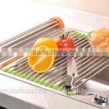 2016 Roll Up Stainless Steel Silicone Handy Drying dish drainer rack