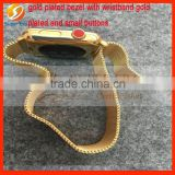 gold plated wristband with bezel frame luxury with small buttons perfect testing