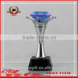 fashional Blue Diamond crystal and metal trophy and awards