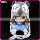 crocheted owl sleeping hat baby photo props newborn baby winter earflap animal hat