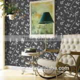 3d black wallpaper with Leaf design print wallpaper