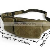 Army Green Genuine Leather Unisex Waist Bag Fanny Pack Purse