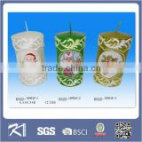 christmas decoration white color pillar scented christmas candle