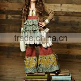 2015 Hot sale high quality fall winter mustard pie remake baby girls clothing sets wholesale cheap boutique outfits