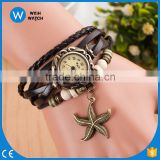 2016 Alibaba Cheaper Women Vintage Leather Bracelet WristWatch Starfish Decoration Quartz Wrist Watch/woman watch VW037