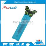 Plastic garden thermometer home decoration,veterinary thermometer,school teaching use with butterfly style