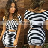 sexy white and black stripe sexy ladies tight women short mini dresses PW-SMR8070