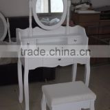 Wall-Fixed white Dressing Table Set with adjustable mirror and upholstered stool, 3 drawers with 2 Dividers