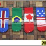 Hot Selling Country England Frace Canada Norway USA National World Cup Flag Socks Low Cut World Cup Flag Socks
