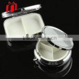 Round Shaped Metal Pill Box In 3 Case With Mirror