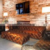 Latest Design Stylish Button Tufted Upholstered Leather Sofa Set/ Retro Vintage Style Genuine Leather Chesterfield Sofa