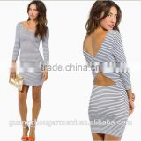 long - sleeved black and white stripedhalter tight package hip cross back casual knit Sexy pencil dress