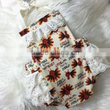 Baby Girl Thanksgiving Clothing Turkey Ruffle Romper Toddlers Fancy Lace Boho Vintage Romper