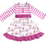 New Fashionable Little Girl Clothing Sleeved BIKE PATTERN Cloth Skirt frock design Baby Girl Cotton Dresses