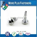 Made in Taiwan Self Tapping Self Drilling Screw with Raised Head Philips DIN 7504N Steel Case Hardened White Zinc Plated