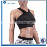 Comfortable yoga wear wholesale dry fit sports bra women fitness seamless performance gym bra black
