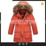 Children teenager winter hoodie down jackets with big real fur collar