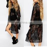Custom Made Long Sleeve Lace Overlay Shirt Dress See Through Girls Sexy Night Dress Photos