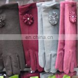 Winter lady full finger gloves with Flower