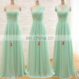 Sweetheart New Arrival Three Styles A Line Mint Green Long Chiffon A Line Pleated Bridesmaid Dress 2016