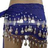 BestDance bellydance hip scarf sexy belly dance sequin hip scarf with gold/silver coins OEM