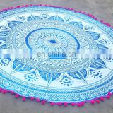 blue color pink pom pom round omra design 72 inch beach mat latest fashion in USA
