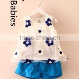Summer girls boutique outfits 2016 baby embroiery tops and cotton shorts                                                                                                         Supplier's Choice