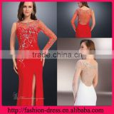 Shealth Tank Top Floor Length Chiffon with Embroider Beaded Side Slit One Long Sleeve White Evening Dresses