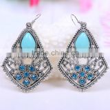 wholesale fashion vintage resin acrylich kallaite rhombus on hole gold earring models box
