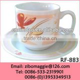 Hot Sale Beautiful Floral Print Modern Shape Good Quality Porcelain Disposable Water Cup Saucer